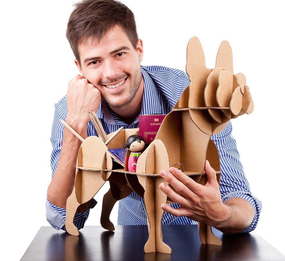 """Estantería y organizador perro de cartón """"Bulldog francés"""""""