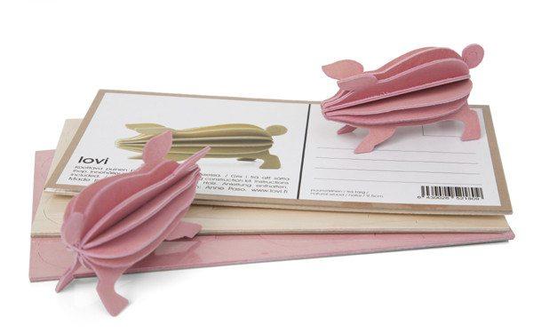 Postal de madera Lovi para montar en 3D – Cerdito