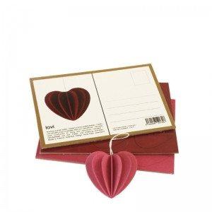Postal de madera Lovi para montar en 3D - Corazón