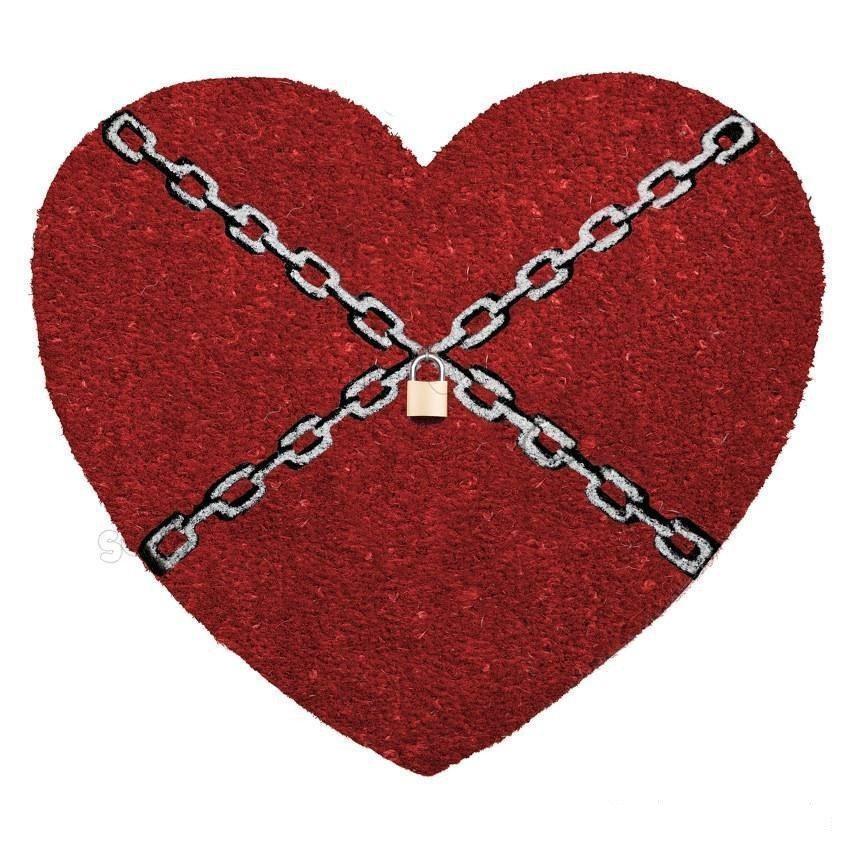 Felpudo corazón encadenado con candado - Para fidelidades de hierro