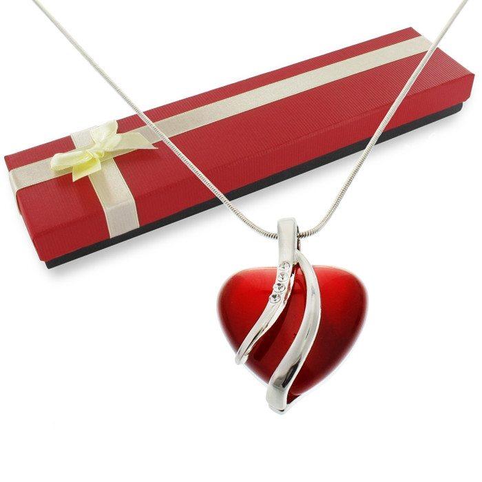 Colgante rojo forma corazón con cristales de Swarovski