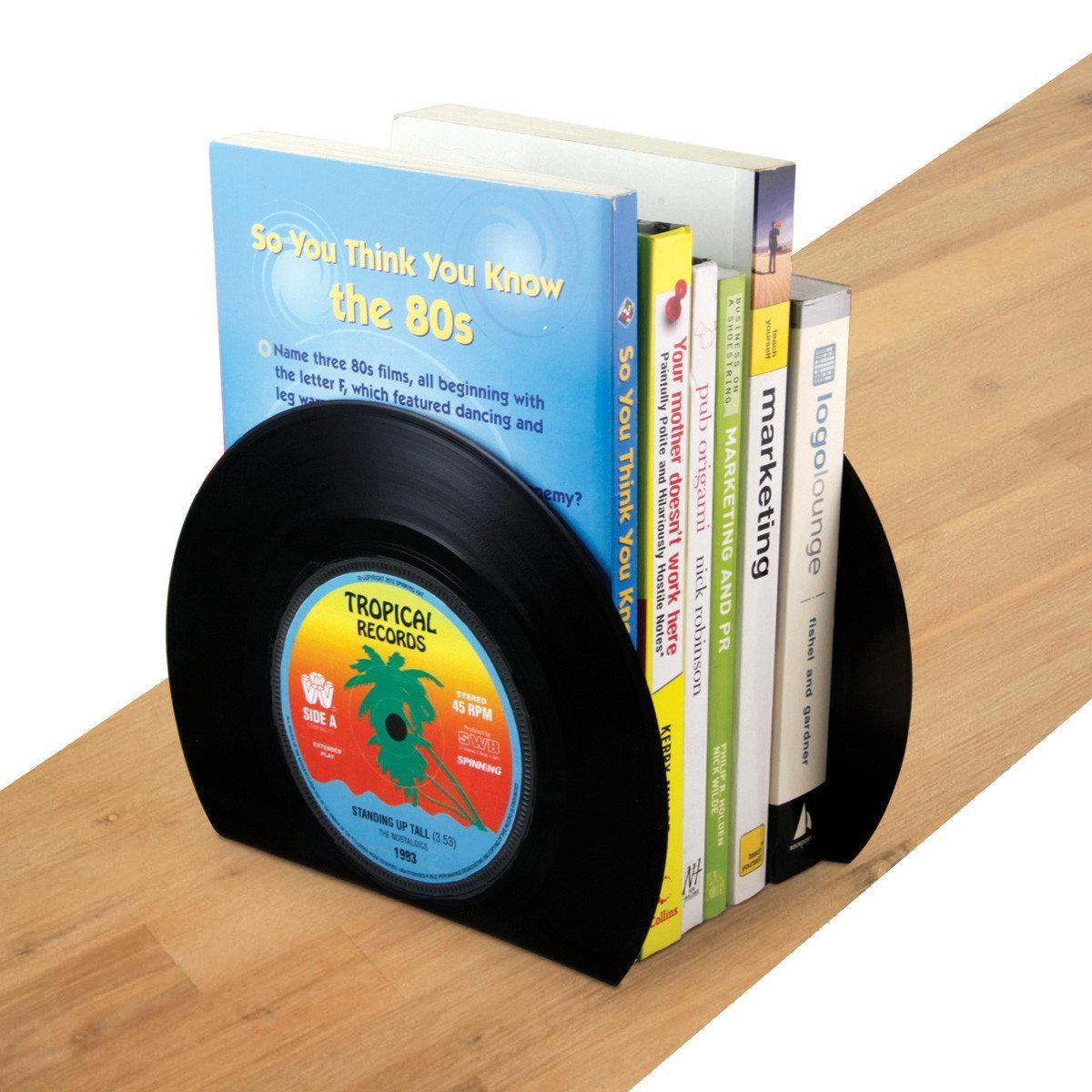 Sujetalibros con forma de discos de vinilo