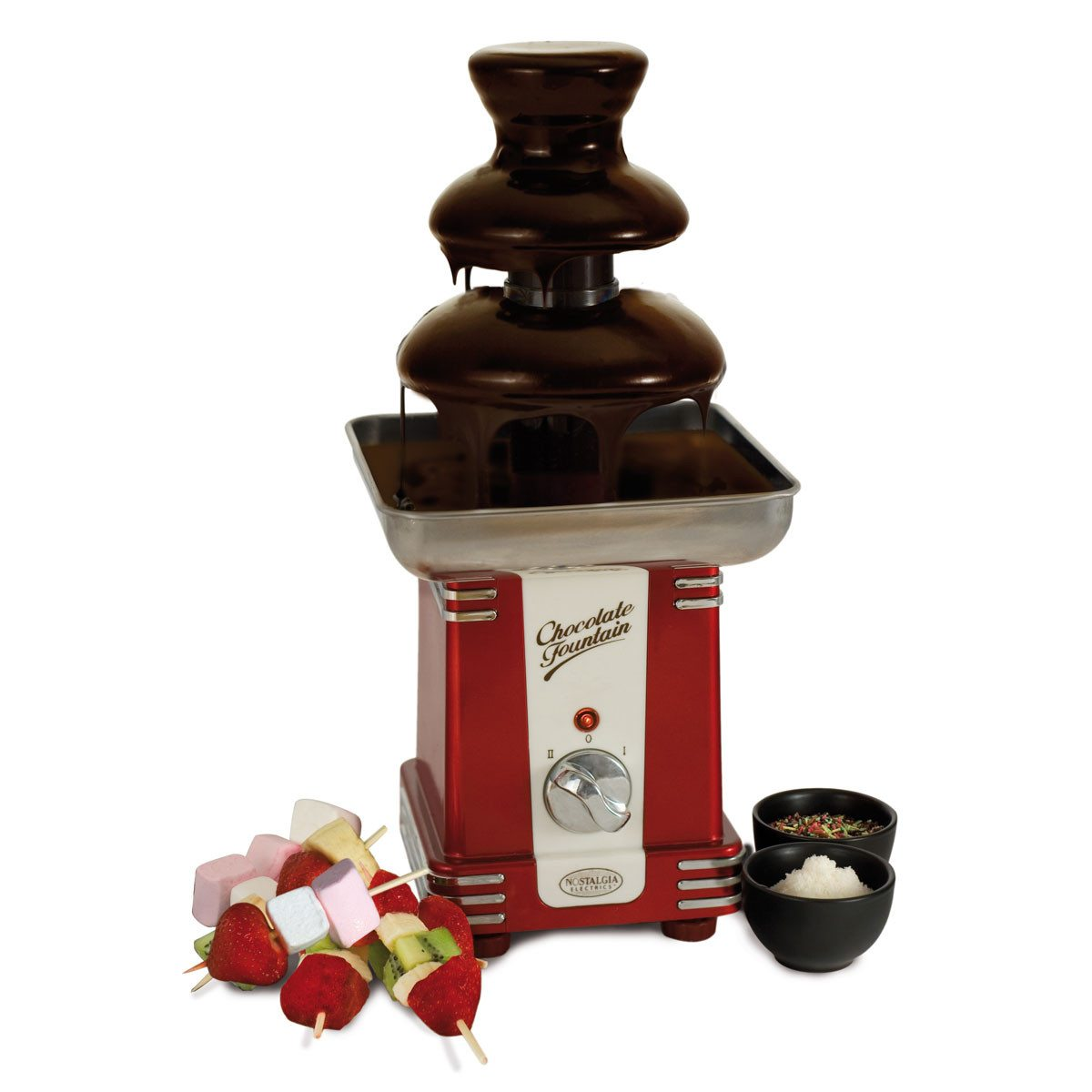 Fuente de chocolate de estilo retro para golosos muy estilosos