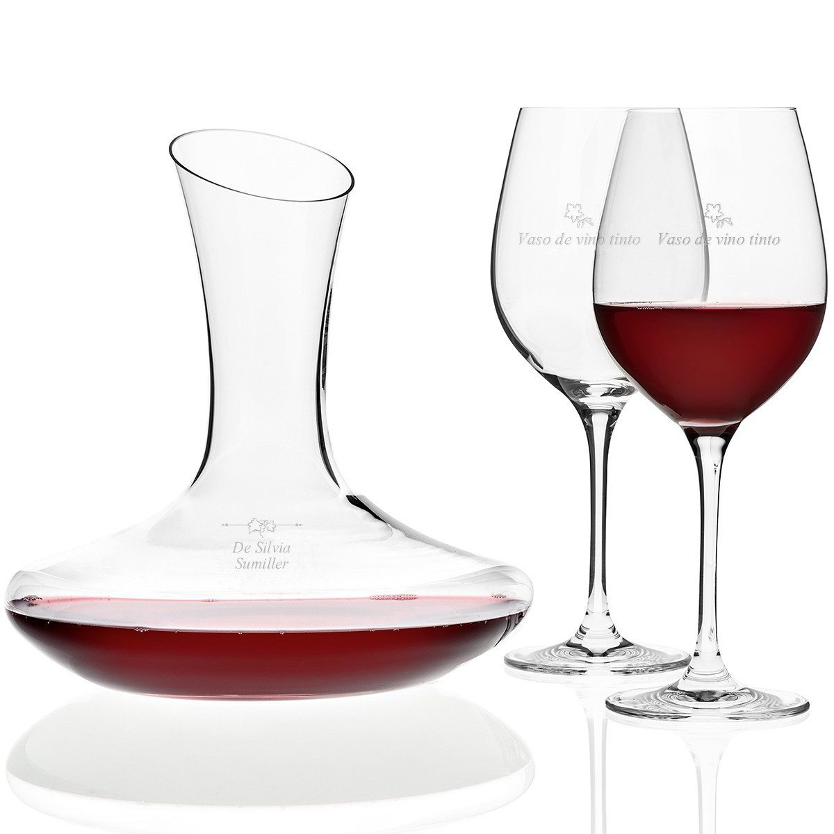 Set de vino tinto con grabado personalizable