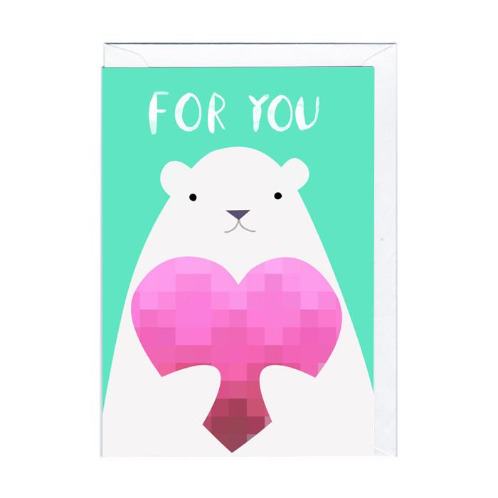 """Süße Karte """"Eisbär mit Herz"""""""