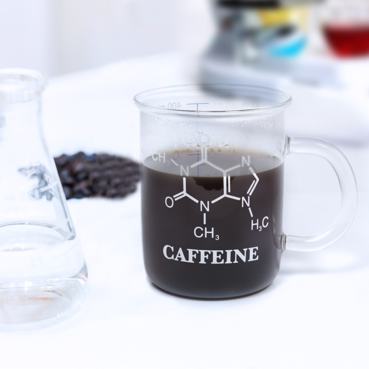 """Taza de"""" vidrio borosilicato"""" con la fórmula de la cafeína"""