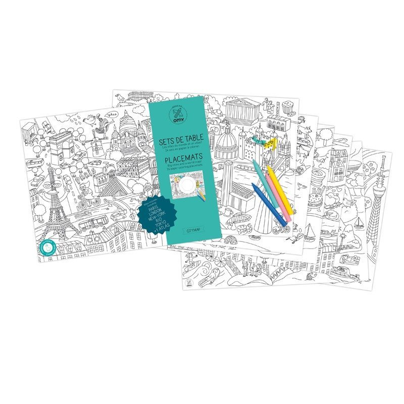 "Mantel individual ""City Map"" para colorear"