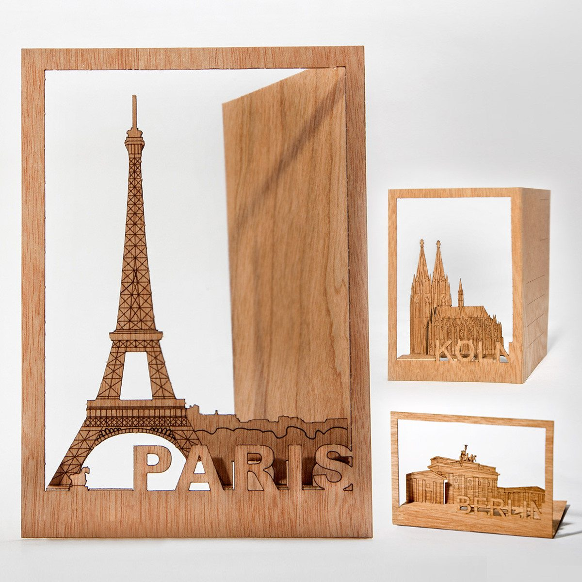 Vielseitige Grußkarten aus Holz - Städte