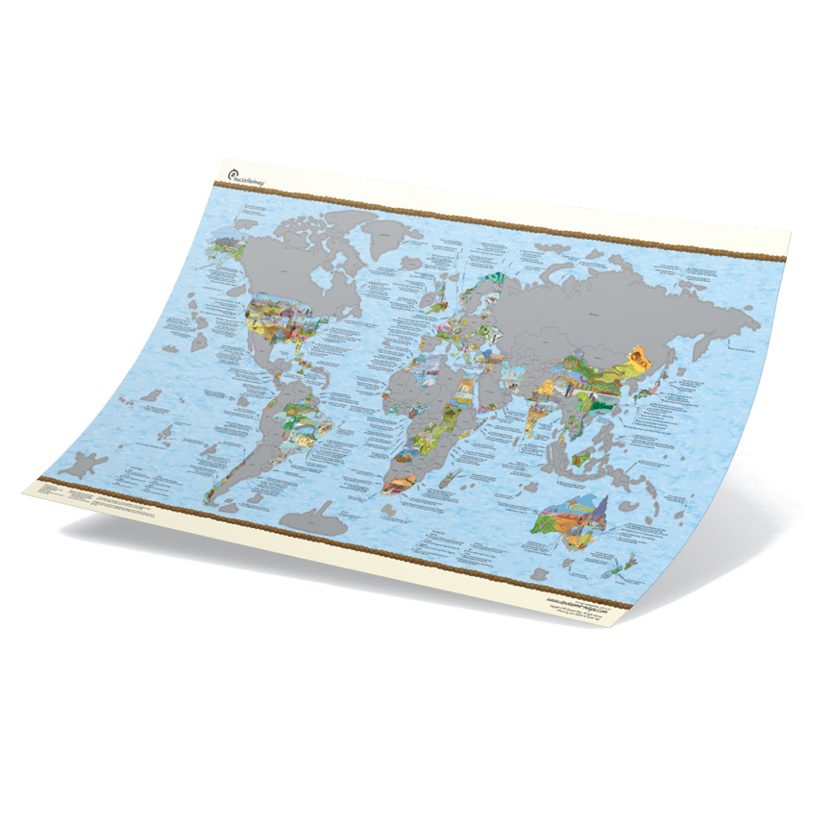 Mapamundi con Rasca – decorado con dibujos y consejos de cada país