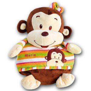 2 en 1: Mono de peluche y manta de bebé con nombre
