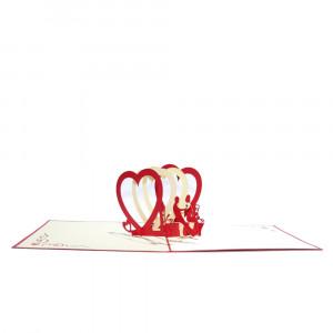 3D-Grußkarte mit Pop-up-Herzen