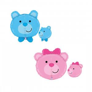 Globo de helio - Pequeño oso rosa y azul