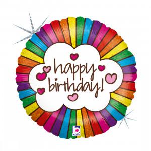 """Globo de helio - """"Happy Birthday"""" Arcoíris"""