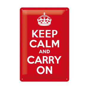 "Blechschild ""Keep calm and carry on"""