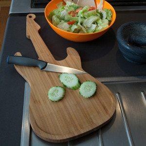 Tabla de cortar en forma de guitarra para cocineros con ritmo