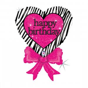 Globo de helio con corazón de cumpleaños feliz y lazo
