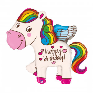 Globo de helio pony con arcoíris