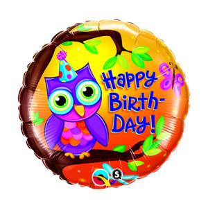 "Globo de helio ""Happy Birthday"" (Búho)"