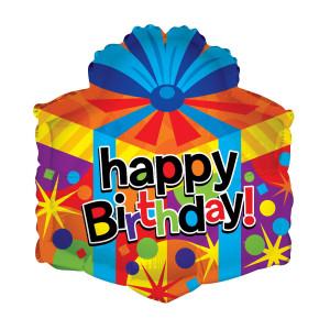 """Globo de helio """"Happy Birthday"""" (Caja de regalos)"""