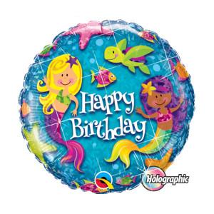 """Globo de helio """"Happy Birthday"""" (Sirenas)"""