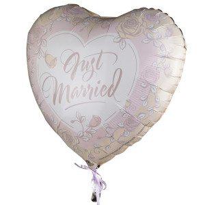"""Globo de helio """"Just married"""" – decorado con bonitas rosas"""