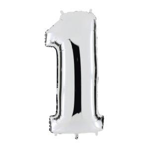Globo de helio Números plateados – elige el número del 0 al 9