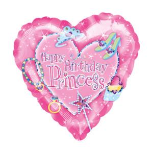 """Globo corazón lleno de helio """"Happy Birthday Princess"""""""