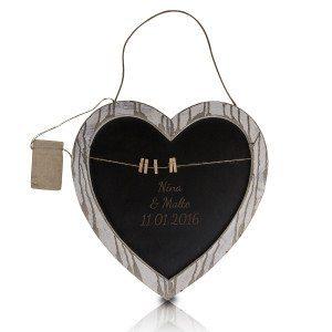 Herz-Memotafel aus Holz mit Gravur