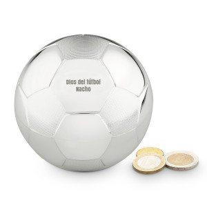 """Hucha """"balón de fútbol"""" con grabado - chuta y ahorra"""