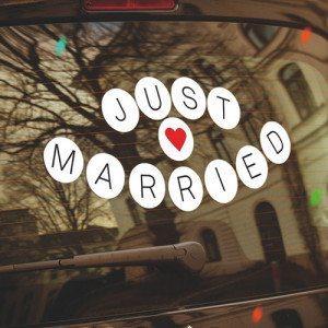 """""""Just married""""- Hochzeits-Autoaufkleber"""