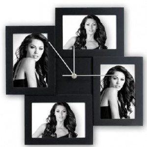 Pequeño reloj de pared marco de fotos para decorar