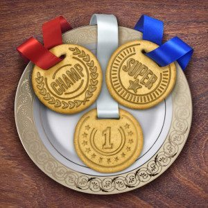 Molde sello para galletas para ganadores– Medallas de oro