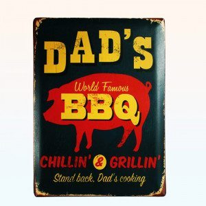 Cartel de metal decorativo - Dad's BBQ
