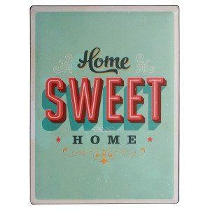 """Cartel nostálgico en chapa """"Home sweet home"""""""