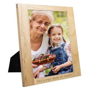 Marco de fotos de madera personalizable con grabado