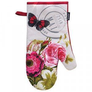 Romantik-Topfhandschuhe mit Blumen