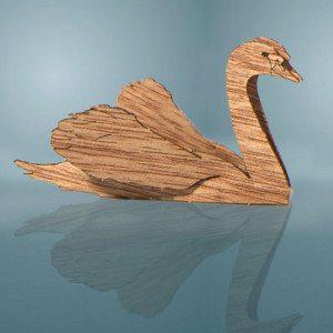 Postal Cisne de madera – la más romántica
