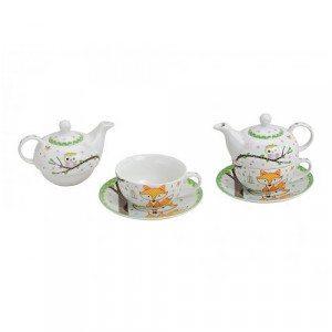"""Tea for one: Teekanne mit Tasse """"Fuchs & Eule"""""""
