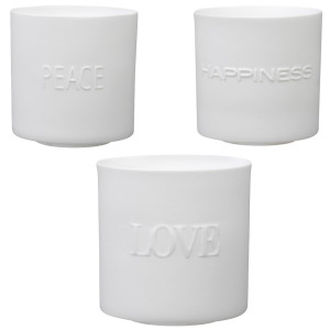 "Conjunto de velitas ""Love, Peace & Happiness"""